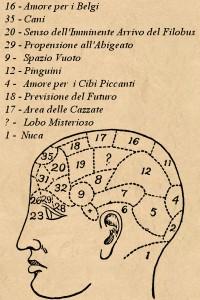 La Mappa Frenologica elaborata dal dottor Elmo Zeppolonnen (1801-1994; sì, sono 193 anni, perchè?) dell'Università di Uppsala: come potete notare, è del tutto priva di senso.